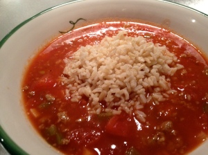 A photo of stuffed pepper soup.